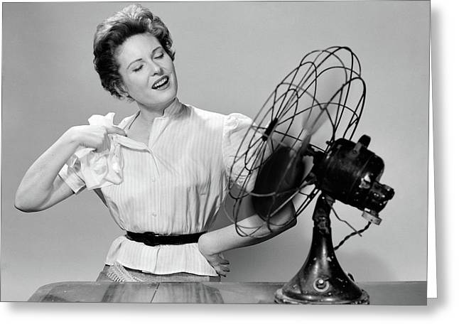 1950s Woman Cooling With Swivel Fan Greeting Card