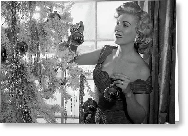 1950s Woman Decorating Christmas Tree Greeting Card