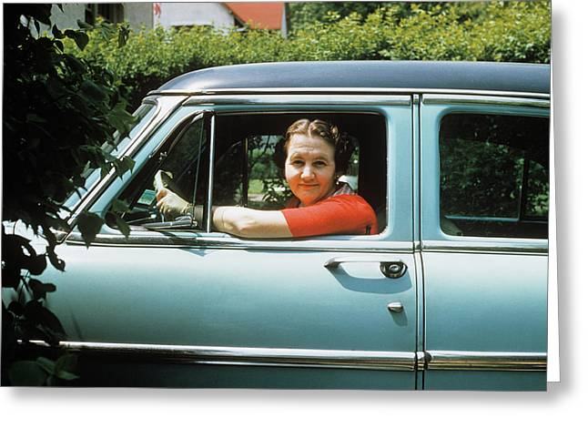 1950s Woman Driver Looking Out Of Car Greeting Card