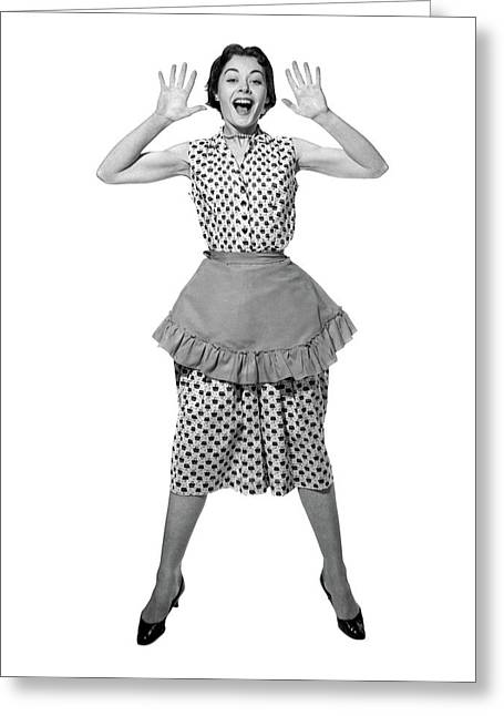 1950s Woman In Apron Jumping Greeting Card