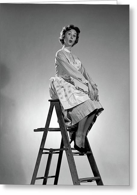 1950s Woman In Apron With Exaggerated Greeting Card