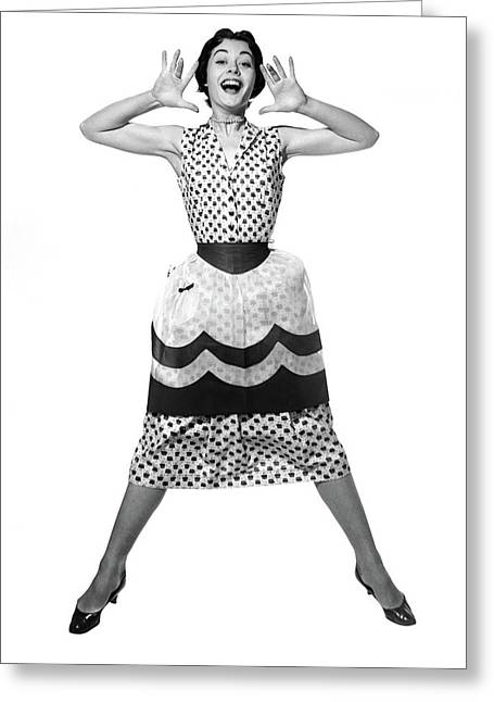 1950s Woman In Dress & Apron Jumping Greeting Card