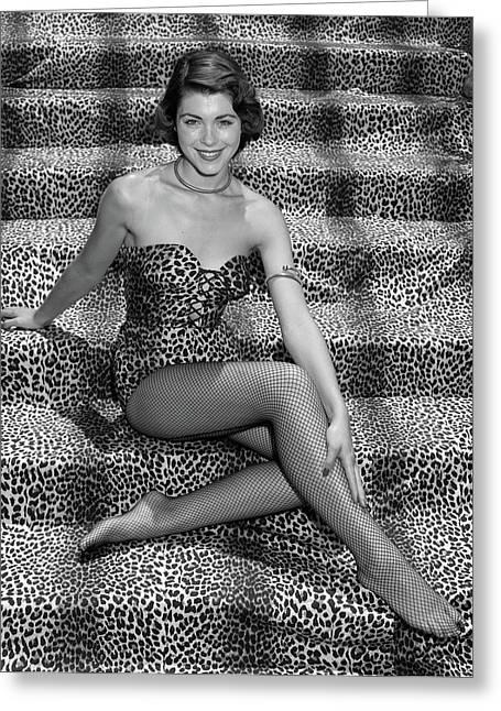 1950s Woman In Leopard Skin Bathing Greeting Card