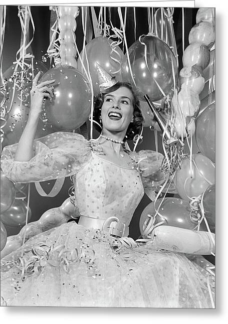 1950s Woman In Party Dress Surrounded Greeting Card