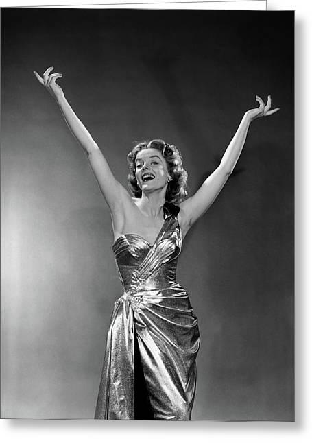 1950s Woman Wearing Elegant Gold Lame Greeting Card