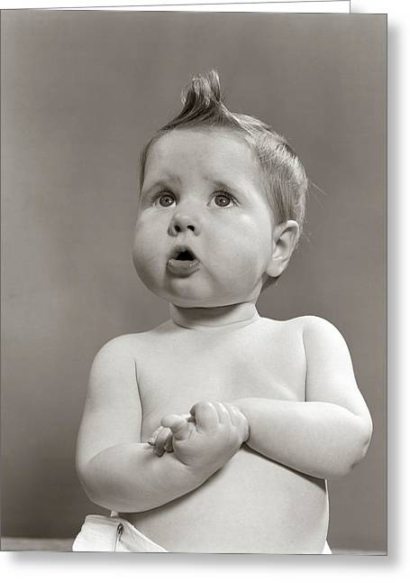 1950s Worried Baby Looking Up Uncertain Greeting Card