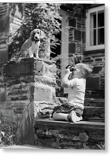 1950s Young Boy Kneeling On Stone Greeting Card