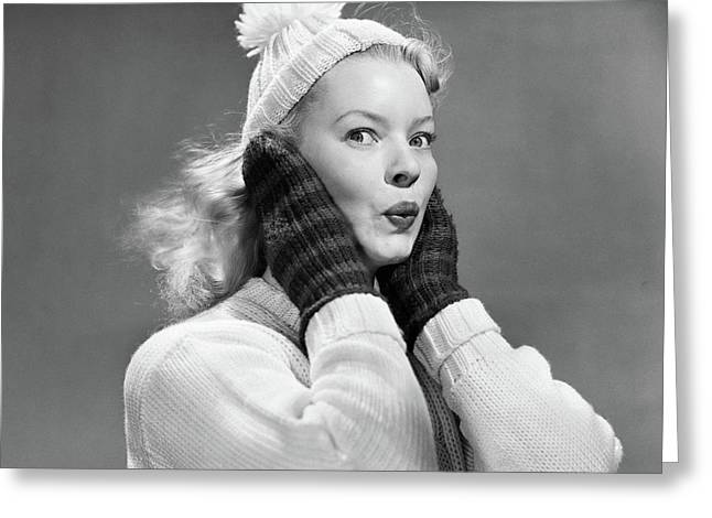 1950s Young Woman Pursing Lips Hands Greeting Card