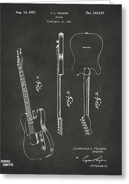 1951 Fender Electric Guitar Patent Artwork - Gray Greeting Card by Nikki Marie Smith