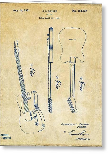 1951 Fender Electric Guitar Patent Artwork - Vintage Greeting Card