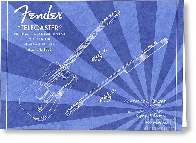 1951 Fender Telecaster Guitar Patent Art Blue Ray Pattern 1 Greeting Card by Nishanth Gopinathan