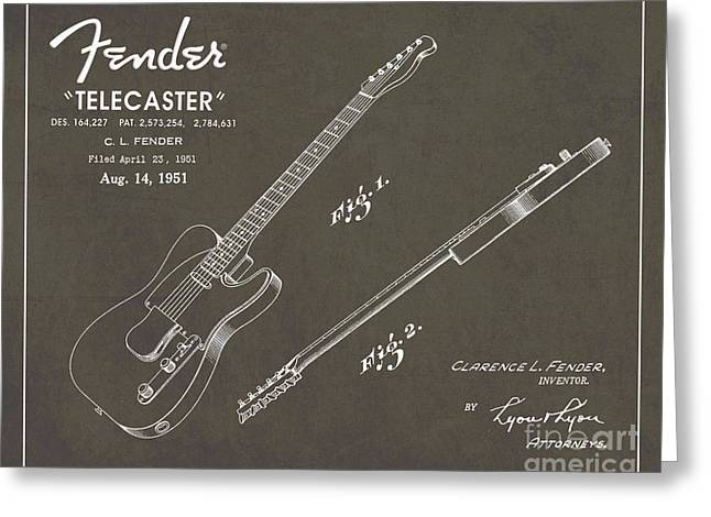 1951 Fender Telecaster Guitar Patent Art In White Chalk On Gray  Greeting Card