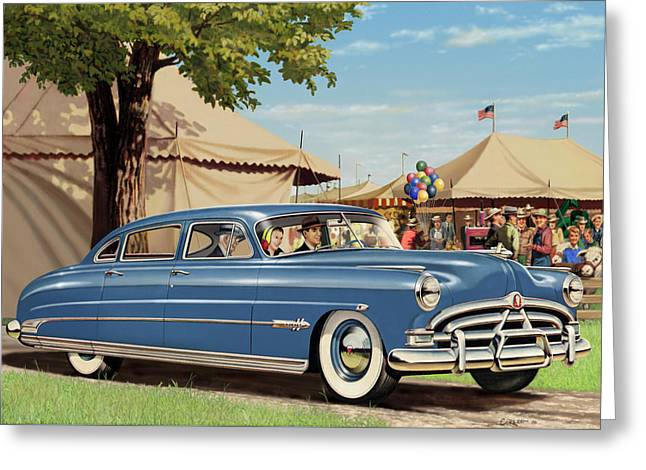 1951 Hudson Hornet Blank Greeting Card Greeting Card by Walt Curlee