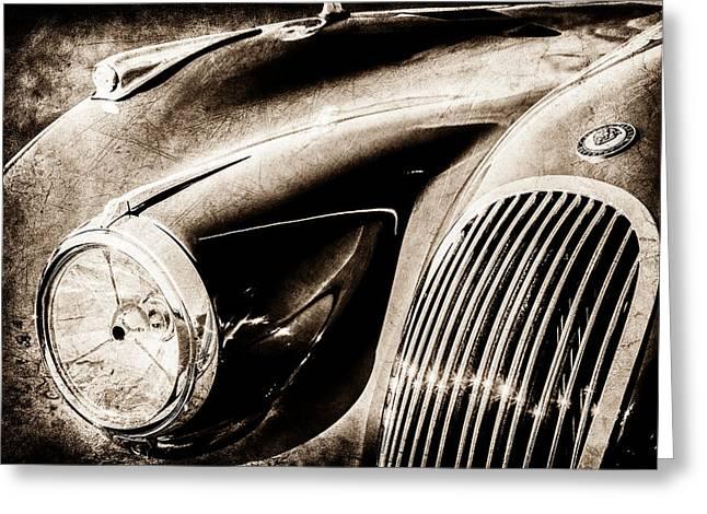 1951 Jaguar Xk 120 Ots Grille Emblem -1108s Greeting Card