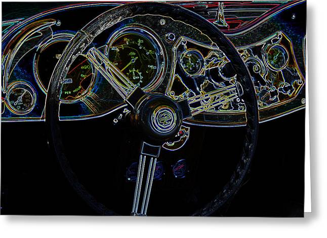 1951 Mg Td Dashboard_neon Car Art Greeting Card by Lesa Fine