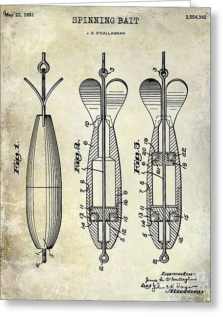 1951 Spinning Bait Patent Drawing Greeting Card by Jon Neidert