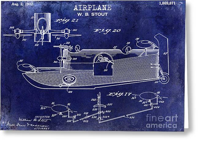 1932 Airplane Patent Drawing Blue Greeting Card by Jon Neidert