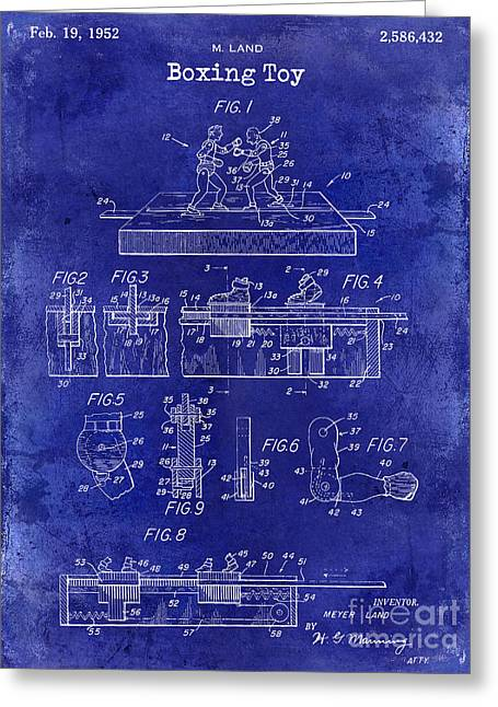 1952 Boxing Toy Patent Drawing Blue Greeting Card by Jon Neidert