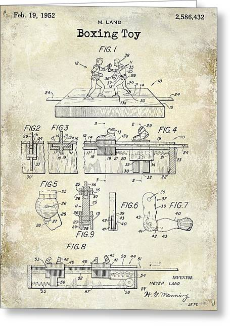 1952 Boxing Toy Patent Drawing Greeting Card by Jon Neidert