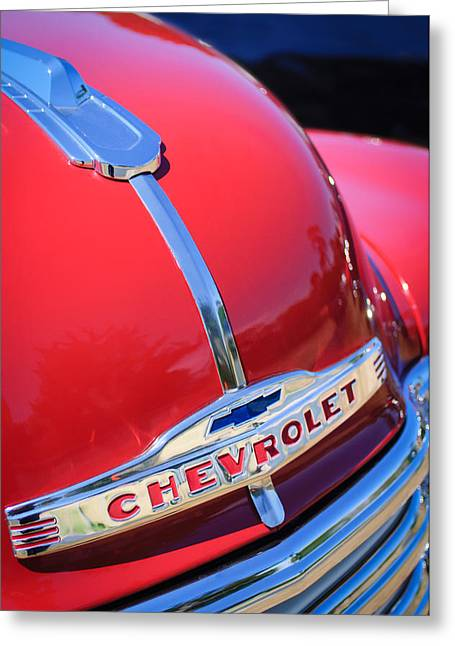 1952 Chevrolet Suburban Hood Ornament Greeting Card by Jill Reger