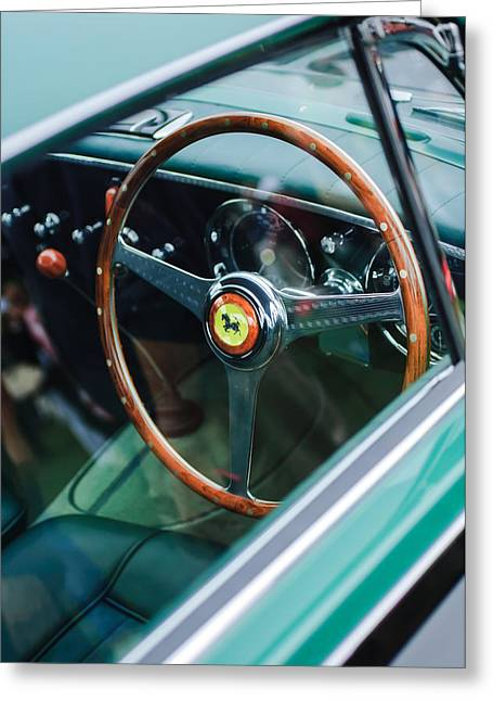 1952 Ferrari 212 Inter Vignale Coupe Steering Wheel Emblem Greeting Card by Jill Reger
