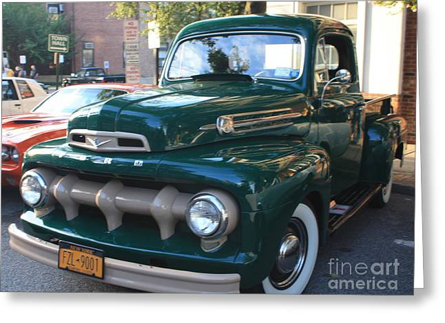 1952  Ford Pick Up Truck Front And Side View Greeting Card by John Telfer
