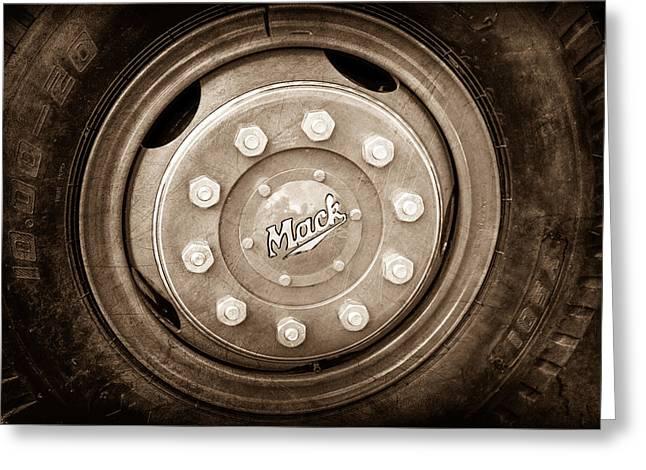 1952 L Model Mack Pumper Fire Truck Wheel Emblem Greeting Card by Jill Reger