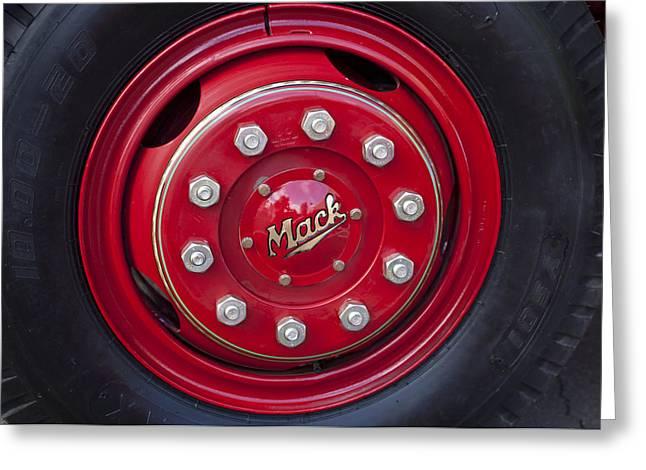 1952 L Model Mack Pumper Fire Truck Wheel Greeting Card by Jill Reger