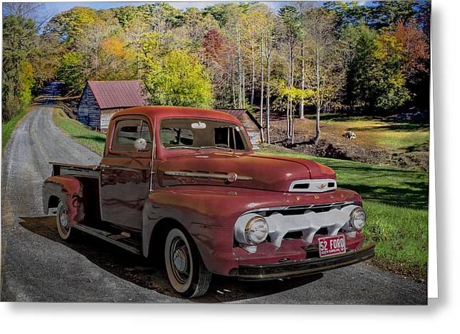 1952 Red Ford Truck Greeting Card