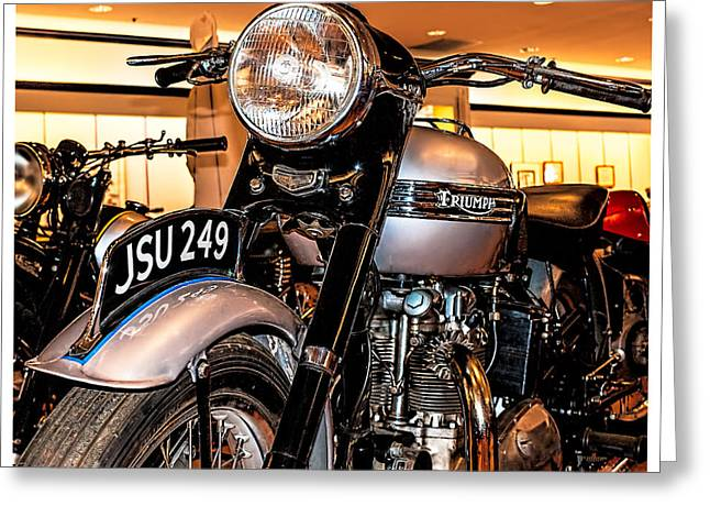 Greeting Card featuring the photograph 1952 Triumph Tiger 100 by Steve Benefiel