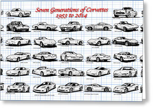 1953-2014-corvettes Greeting Card