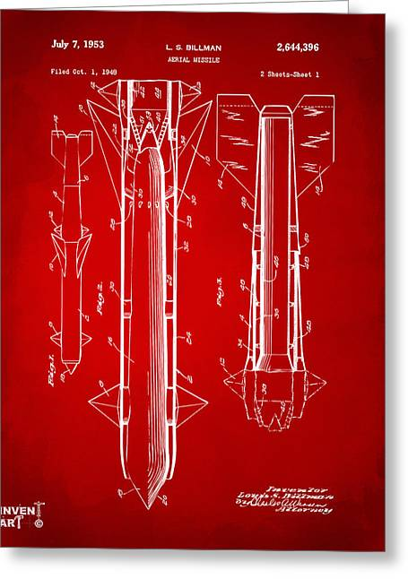 1953 Aerial Missile Patent Red Greeting Card by Nikki Marie Smith