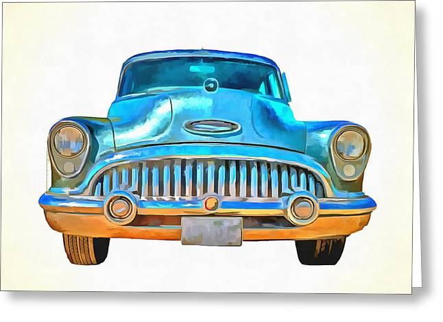 1953 Buick Roadmaster Pop Art Greeting Card by Edward Fielding