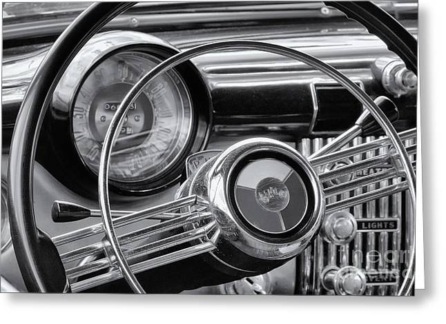 1953 Buick Super Dashboard And Steering Wheel Bw Greeting Card by Jerry Fornarotto