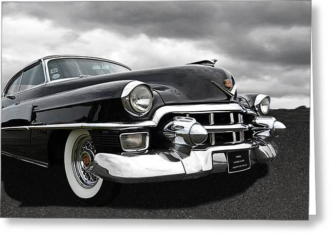 1953 Cadillac Coupe De Ville Black And White Greeting Card by Gill Billington