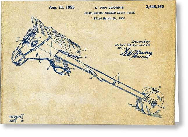 1953 Horse Toy Patent Artwork Vintage Greeting Card
