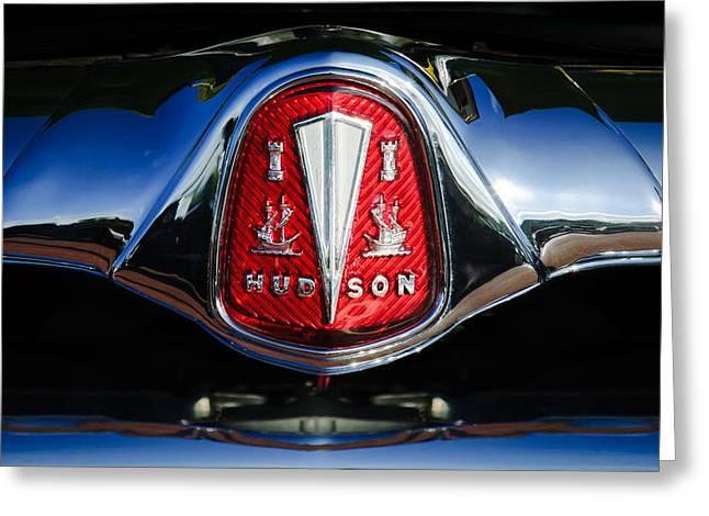 Greeting Card featuring the photograph 1953 Hudson Hornet Sedan Emblem by Jill Reger