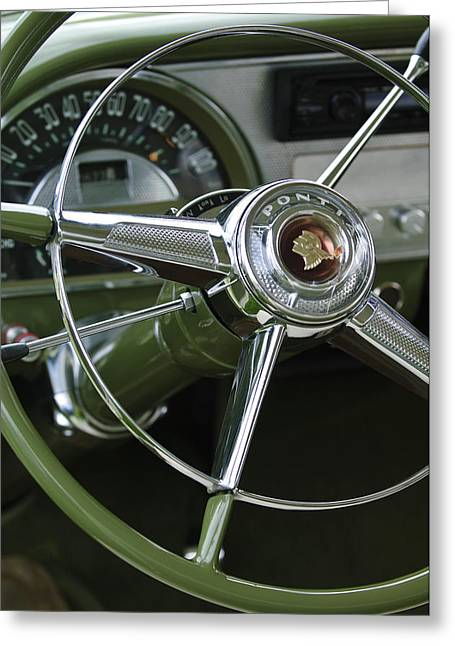 Car Part Greeting Cards - 1953 Pontiac Steering Wheel Greeting Card by Jill Reger