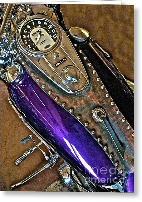 1953 Purple Harley Panhead Greeting Card
