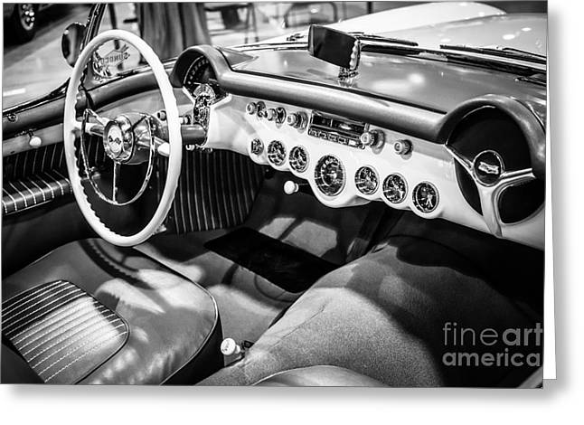 1954 Chevrolet Corvette Interior Black And White Picture Greeting Card by Paul Velgos