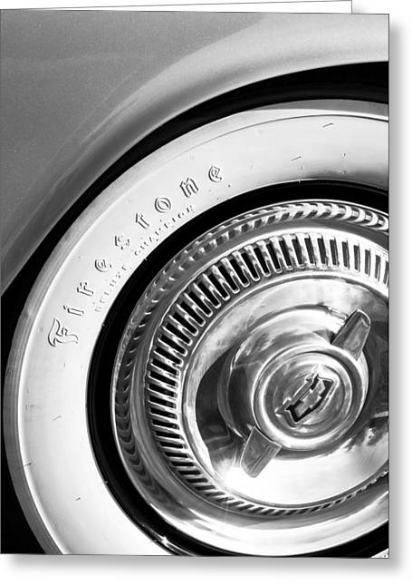 1954 Chevrolet Corvette Wheel Emblem -290bw Greeting Card by Jill Reger