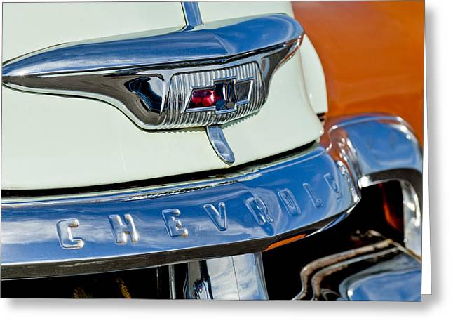 1954 Chevrolet Panel Truck Hood Emblem Greeting Card by Jill Reger