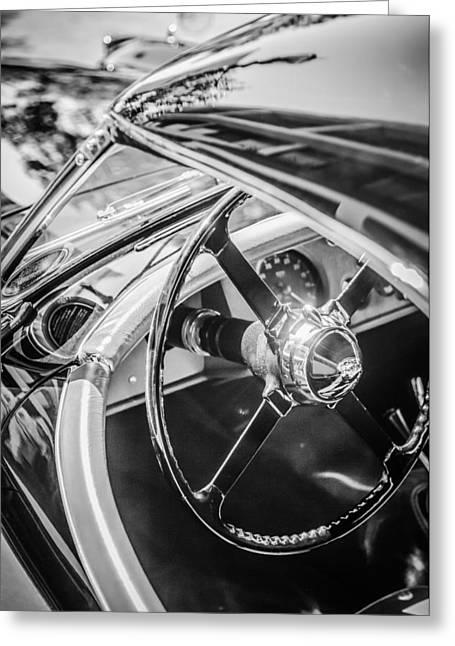 1954 Jaguar Xk120 Roadster Steering Wheel -0500bw Greeting Card