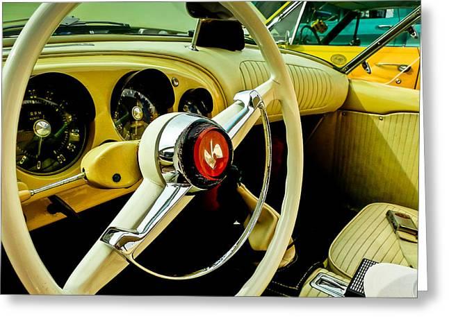 1954 Kaiser Darrin Steering Wheel And Dashboard Greeting Card