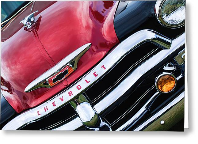 1955 Chevrolet 3100 Pickup Truck Grille Emblem Greeting Card by Jill Reger