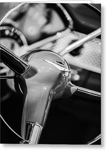 1955 Chevrolet Bel Air Convertible Steering Wheel Emblem -0974bw Greeting Card by Jill Reger