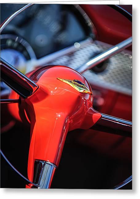 1955 Chevrolet Bel Air Convertible Steering Wheel Emblem Greeting Card
