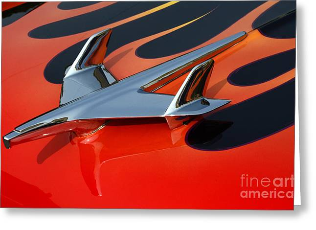 1955 Chevrolet Hood Ornament Greeting Card by Bob Christopher