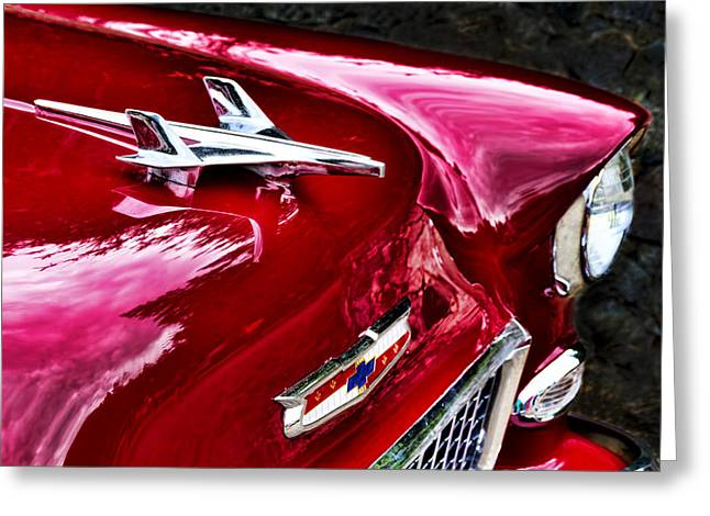 1955 Chevy Bel Air Hood Ornament Greeting Card by Peggy Collins