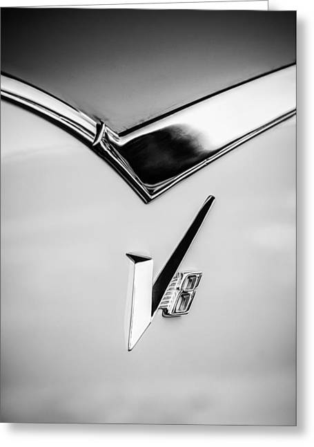 1955 Dodge Royal Lancer V8 Emblem -0639bw Greeting Card by Jill Reger
